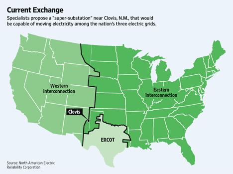 Mapa de las tres redes electricas estadounidenses