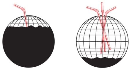 globo lleno de petroleo y una pajita, globo vacio y muchas pajitas