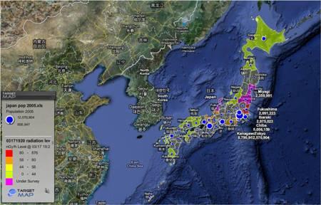 mapa de radiacion japon