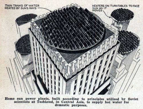 terrazas con paneles solares diseñados por un grupo de investigadores rusos hace 100 años
