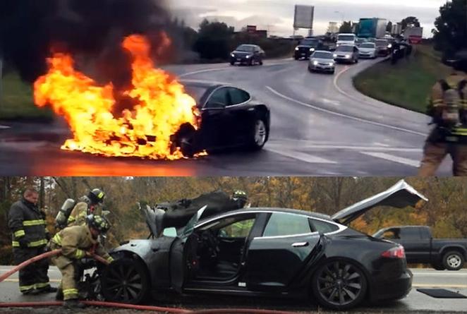 bomberos en incendios de tesla Model S
