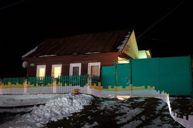 Niveles de contaminación en las cercanias de una casa en Starye Bobovichi, Rusia.