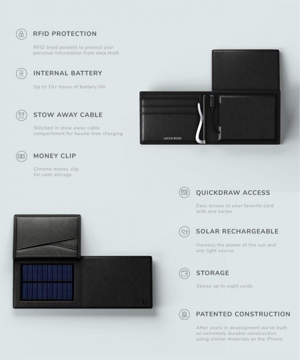cartera con bateria externa y paneles solares